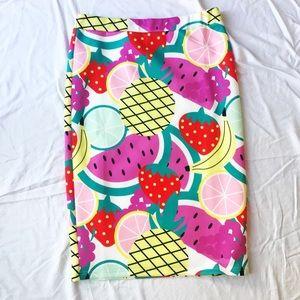 Bright Fruit Print Bodycon Pencil Skirt